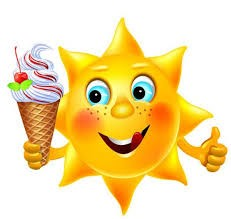 Animated sun holding an ice cream.