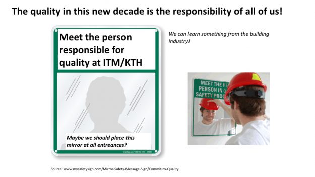 Illustration mirror with the text meet the person responsible for quality at ITM/KTH