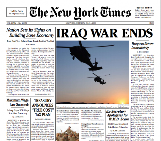Ideal New York Times newspaper by the YESMEN