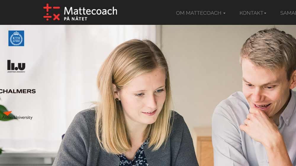 Image of the web page Mattecoach.se with two people at the front.