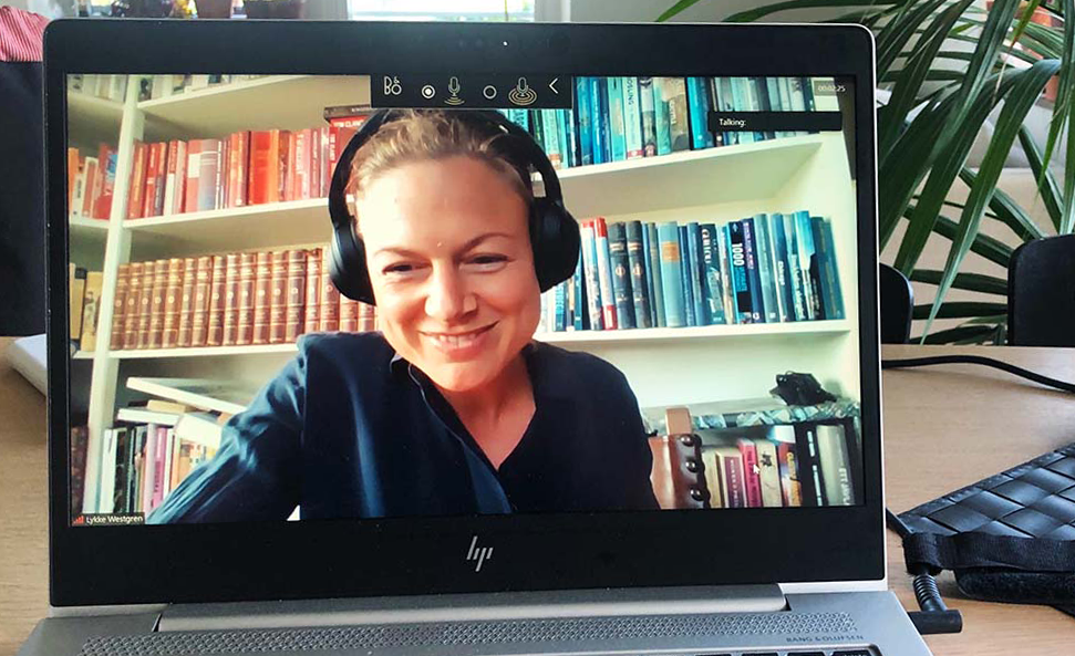 A computer screen showing KTH Innovation coach Lykke Westgren in a Zoom meeting