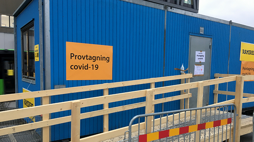A portable COVID-19 testing site in Uppsala, Sweden. (Photo: David Callahan)