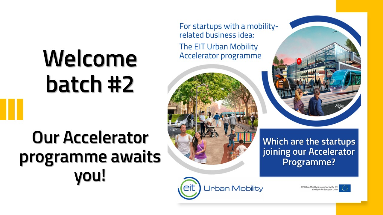 "A collage featuring the EIT logo and the text ""Welcome Batch 2. Our accelerator program awaits you"""