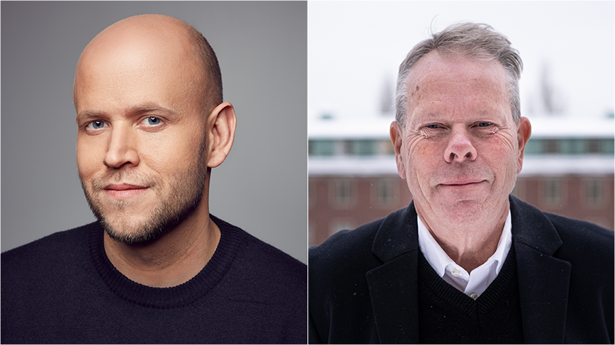 Collage of portraits of Daniel Ek and Mathias Uhlén