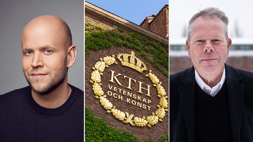 Collage with portrait of Daniel Ek, KTH logotype on brick wall, portrait of Mathias Uhlén
