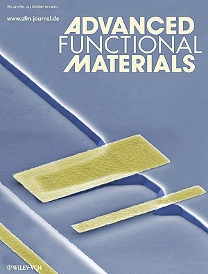 The cover of Advanced Functional materials with a colorized SEM image of a 3D structure