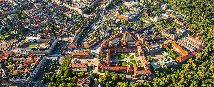Aerial view of KTH's main campus
