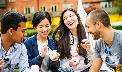 Students eating ice cream