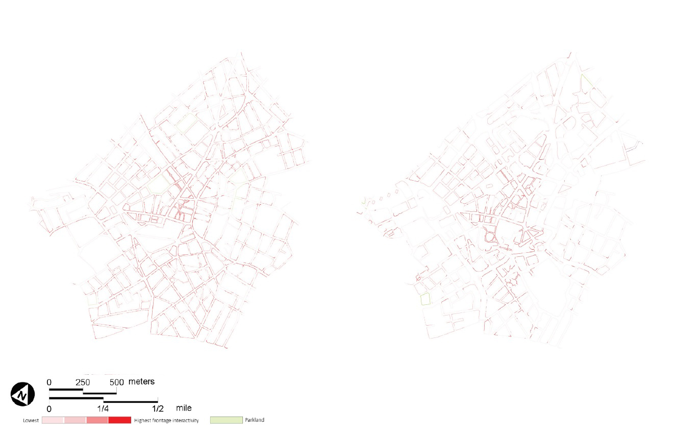 Figur: Frontage interactivity decline in the heart of Birmingham, 1911 (left) and 2017 (right)