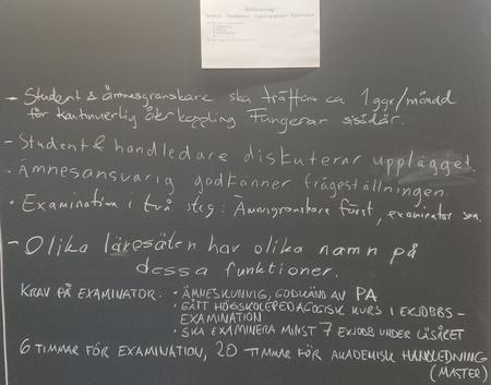 Tavla 3: Rollfördelning handledare-examinator-ämnesansvarig